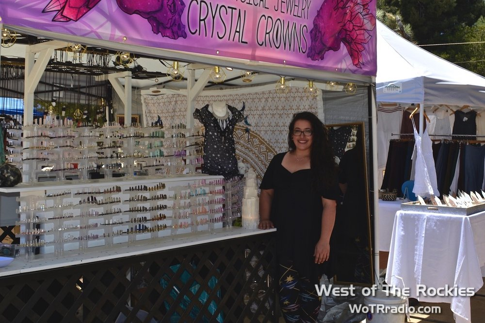 The Starlight Stones booth with a wide array of crystal crowns and pendants.