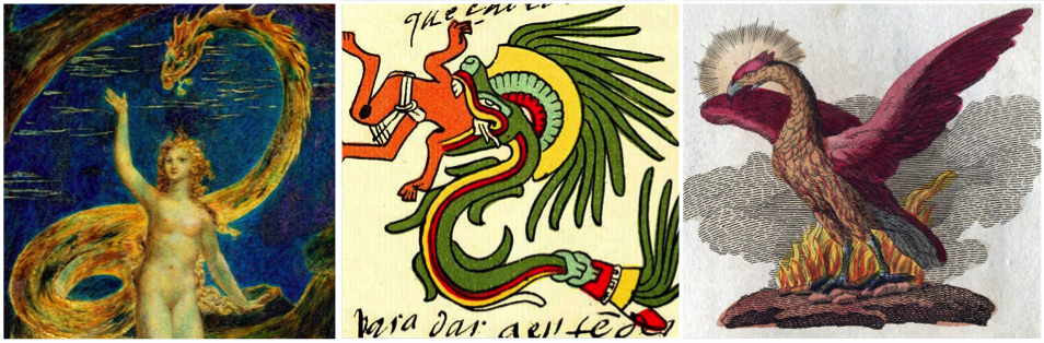 From L to R: Eve Tempted by the Serpent (1800) by William Blake; Quetzalcoatl in the Codex Telleriano-Remensis (16th century); A phoenix depicted in a book of legendary creatures by FJ Bertuch (1747–1822).