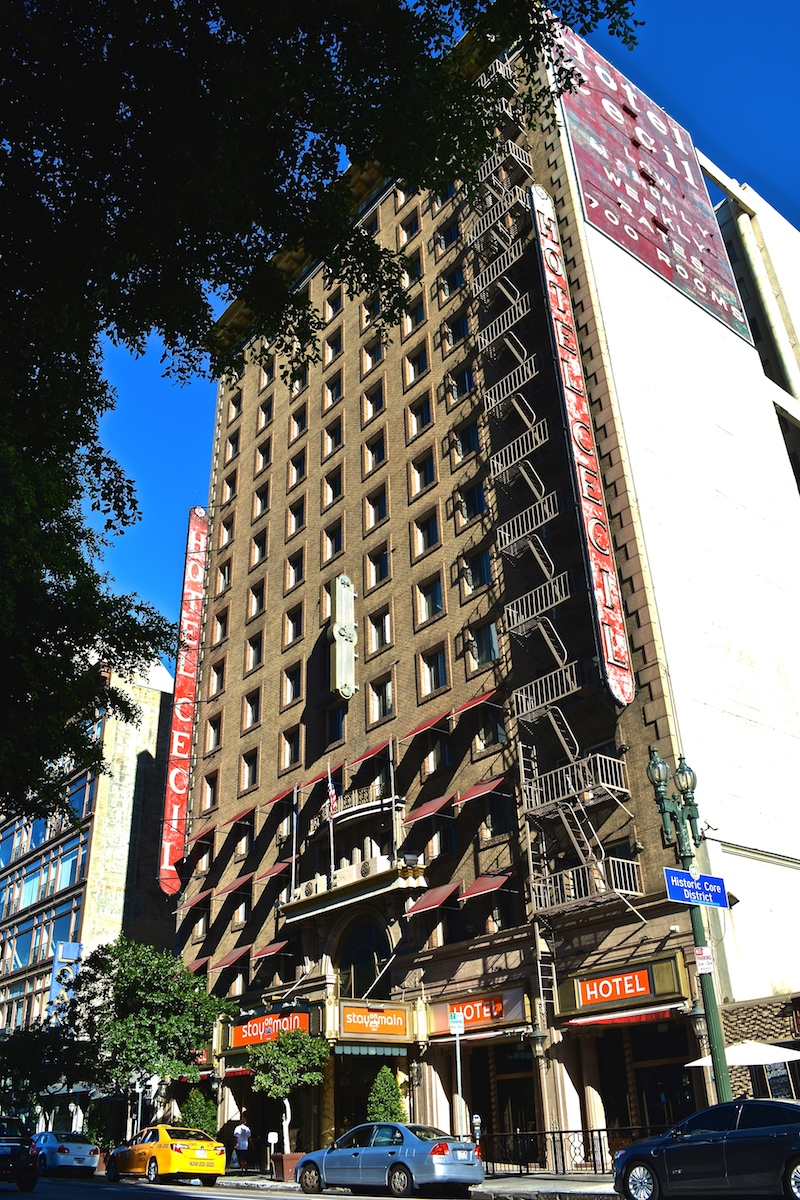 "The Cecil Hotel (re-branded ""Stay On Main"" in 2011) was constructed in 1924 and is located in the downtown area of Los Angeles, California."