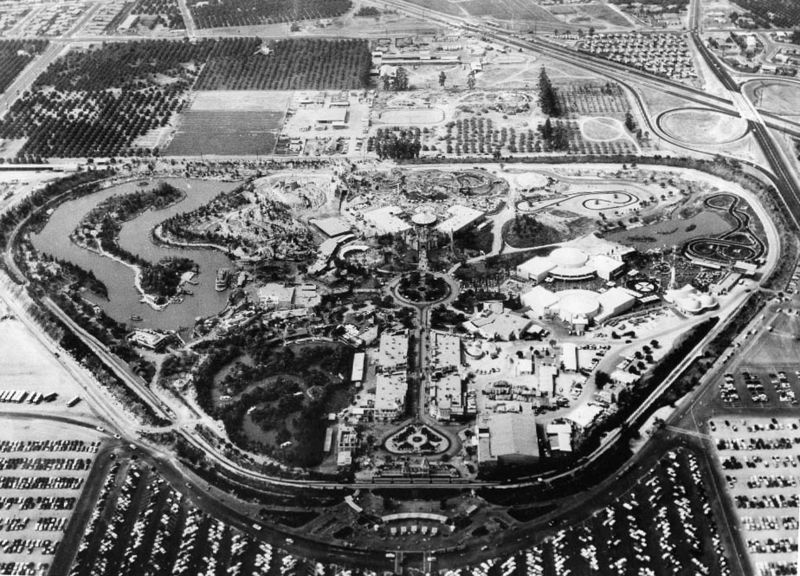 Aerial view of Disneyland (circa 1956).