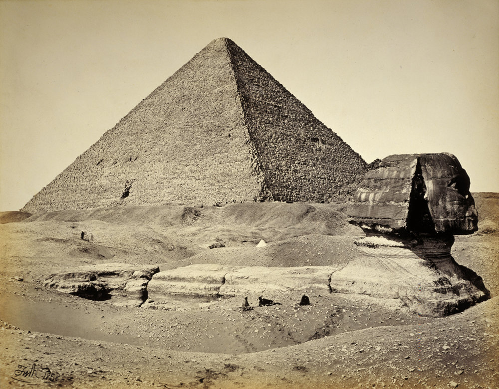 The Great Pyramid and the Great Sphinx in 1858.