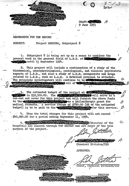 Approval of an  MKULTRA  subproject on LSD from  Dr. Sidney Gottlieb , best known for his involvement with the CIA's 1950s and '60s assassination attempts and mind control program, known as Project MKULTRA.