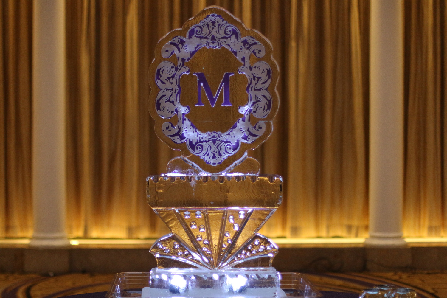 wedding ice sculpture monogram carving