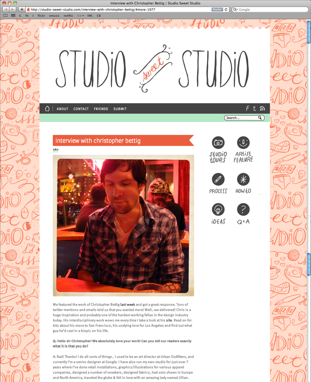 Meg lewis  was kind enough to do a little interview with me recently, which you can check out at  Studio Sweet Studio . Thanks Meg!