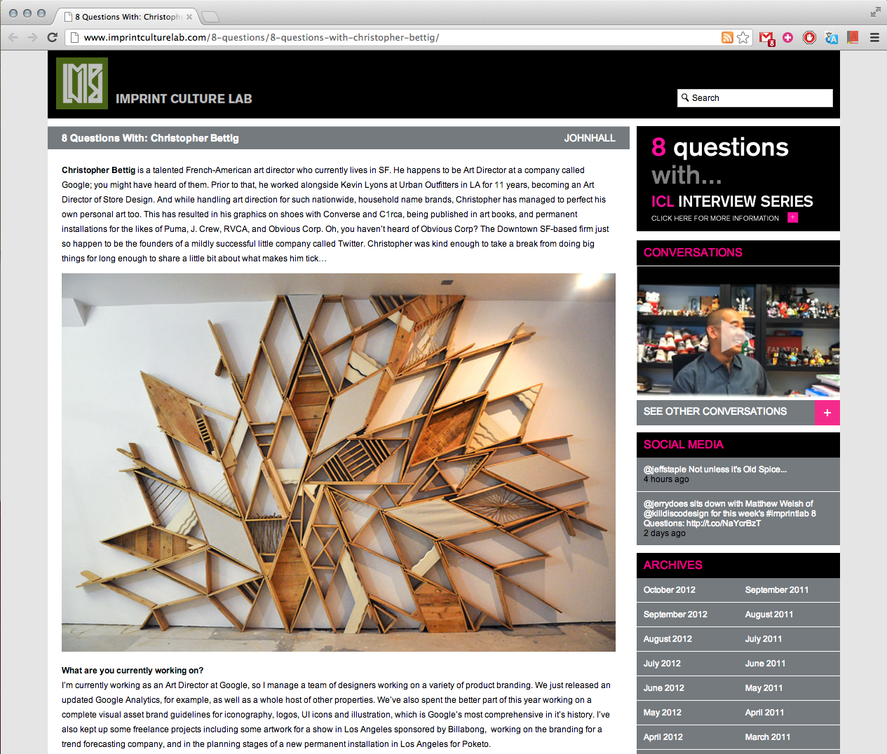 Imprint Culture Lab  did a nice feature / interview with me.. Thanks guys!