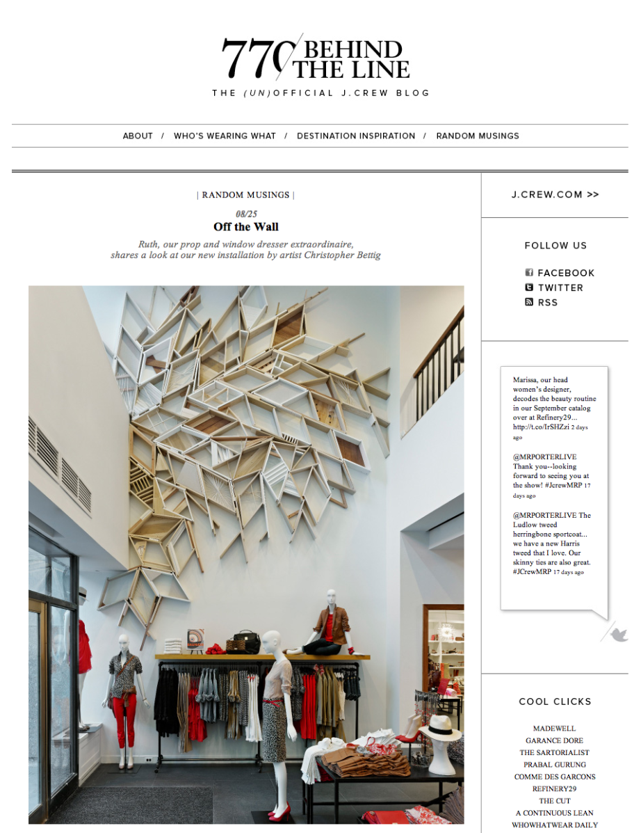 My installation is featured on the official  J Crew blog ! Rad.
