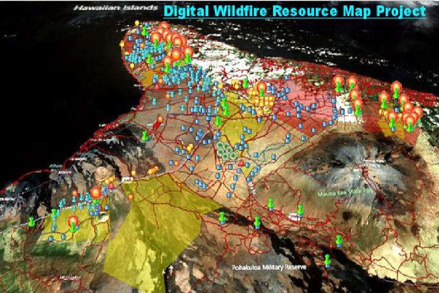 Above: Digital wildfire resource map project for Northwest Hawaii Island.