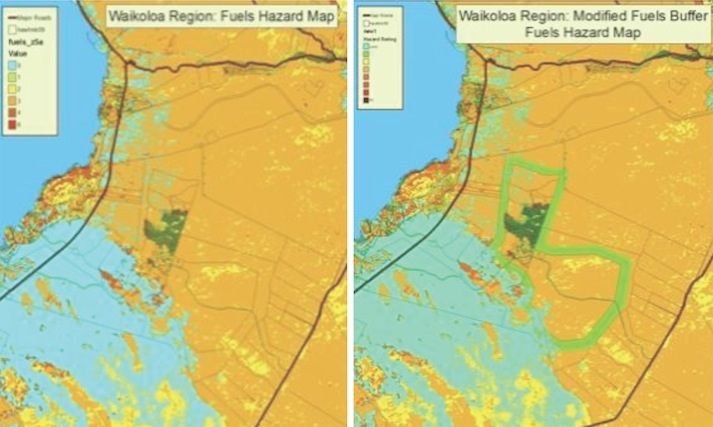 Above left:  High hazard around Waikoloa Village with untreated fuels (hazardous vegetation).    Above right:  Buffer of treated fuels around village reduces hazard.  Buffer surrounds existing village and anticipated footprint (build out) of the village in the future.  To reduce fire hazard to the existing village, a buffer closer to Waikoloa would need to be established.