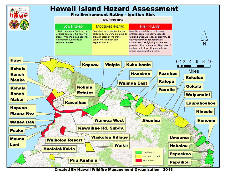 Above: An example of a Wildfire Hazard Assessment map detailing ignition risk of all subdivisions in the Northern region of Hawaii Island.