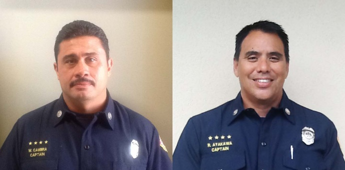"Above: ""Wayne Cambra (left) and Ryan Ayakawa (right)."" Credit: MFD"