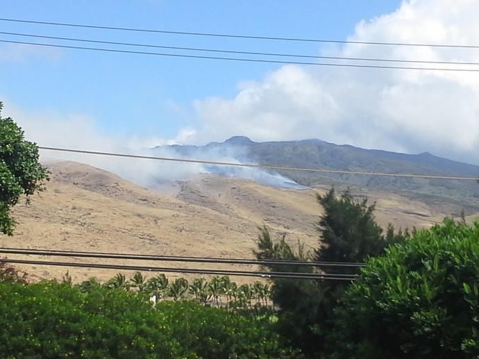 "Above: ""Brush fire near Māʻalaea that burned 30 acres."" Credit - Rick Nunyah"