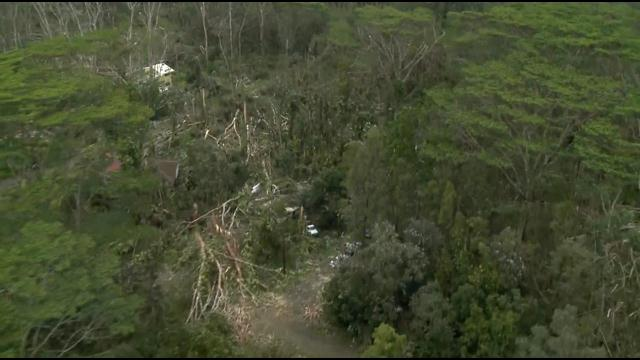 "Above: ""Aerial view shows extensive damage in Puna from Iselle."" Credit - Hawaii News Now"
