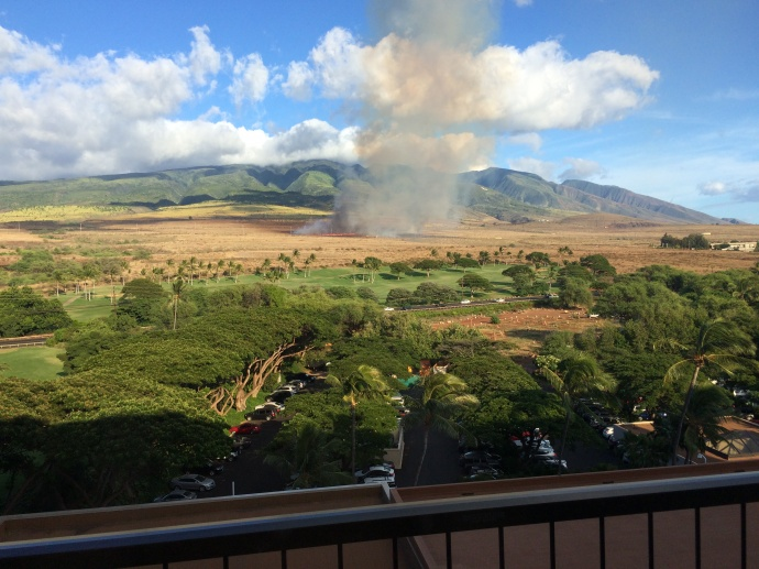 "Above: ""Lahaina brush fire, Sept. 23, 2014."" Credit - Bryan Dickson"
