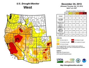"Above: ""Drought status of the western U.S. as of Dec. 24, 2013. Areas of worse drought are indicated by the progressively more tan/brown contours. (NOAA/USDA/NDMC)."""