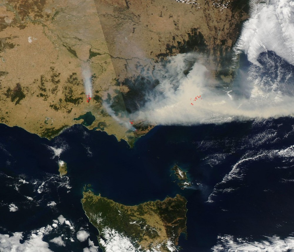 "Above: ""NASA's Aqua satellite captured this view of bushfires blazing in the Australian state of Victoria today. (Source: NASA)"" - Discover"