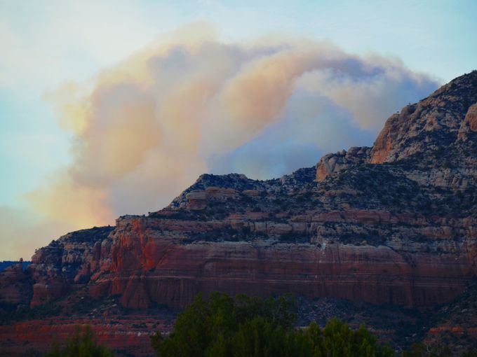 "Above: ""Smoke seen from Cornville, Ariz., May 20, 2014."" Credit: Tom White/AZ Central"