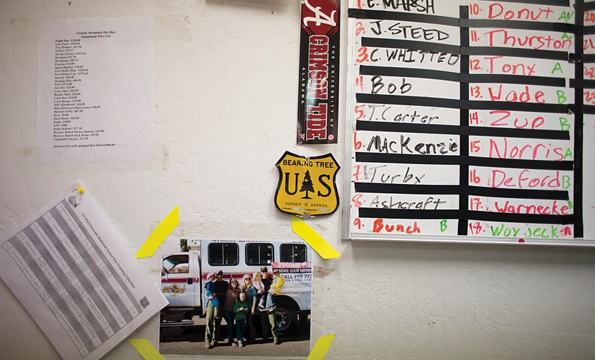 "Above: ""Names of the fallen hotshots, scribbled on a whiteboard in the resource room at the fire station the day of the Yarnell Hill Fire and left untouched ever since."" Credit: The Atlantic"