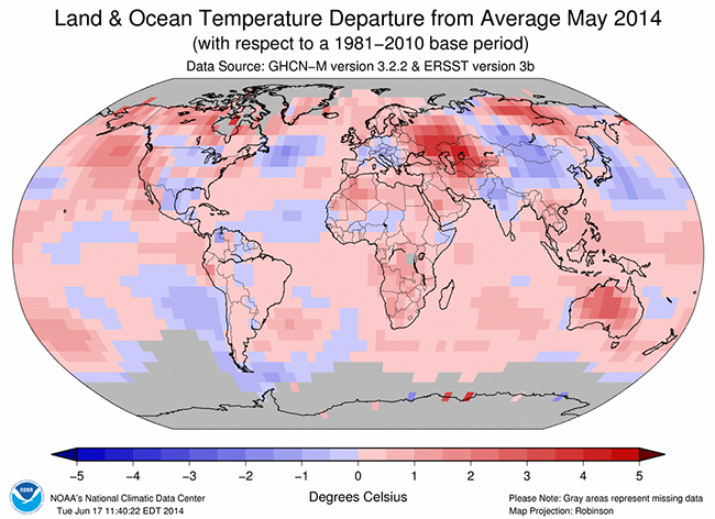 Above: Land & Ocean Temperature Departure from Average May 2014 Credit: NOAA