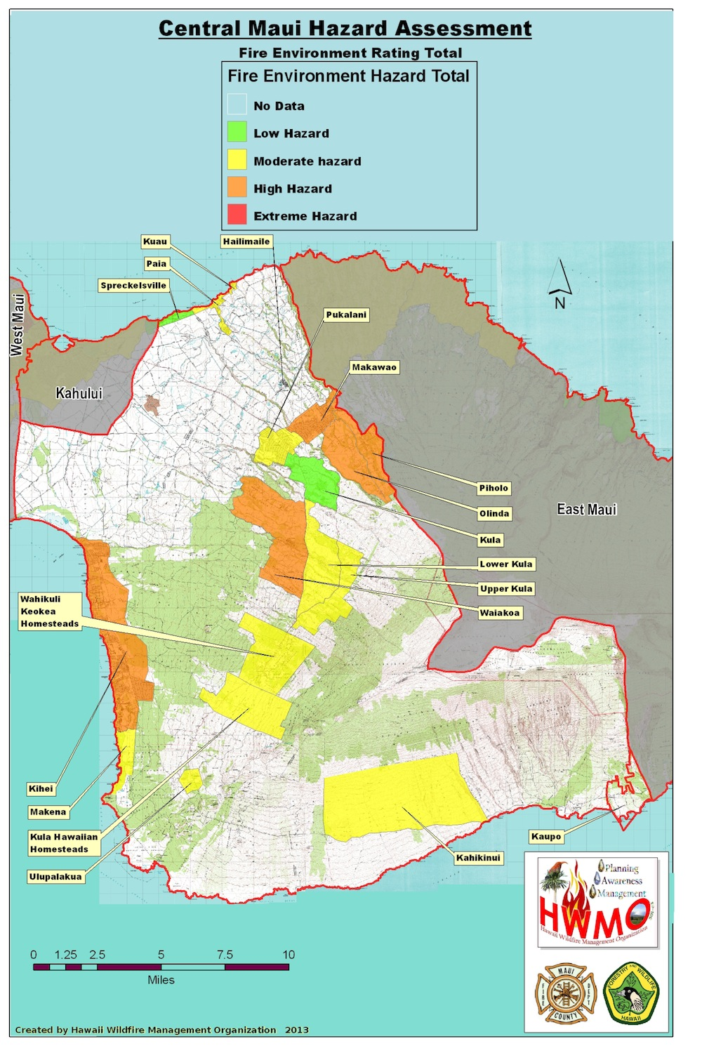Community Wildfire Hazard Assessments Maui Central Hawaii