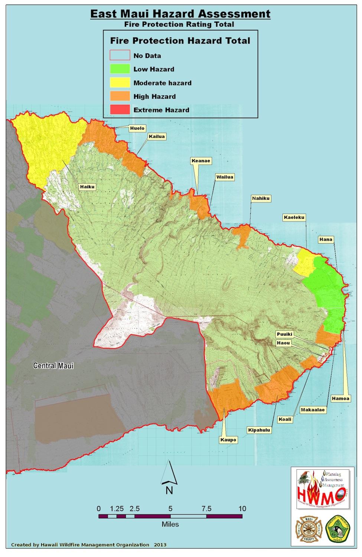 Community Wildfire Hazard Assessments Maui East Hawaii