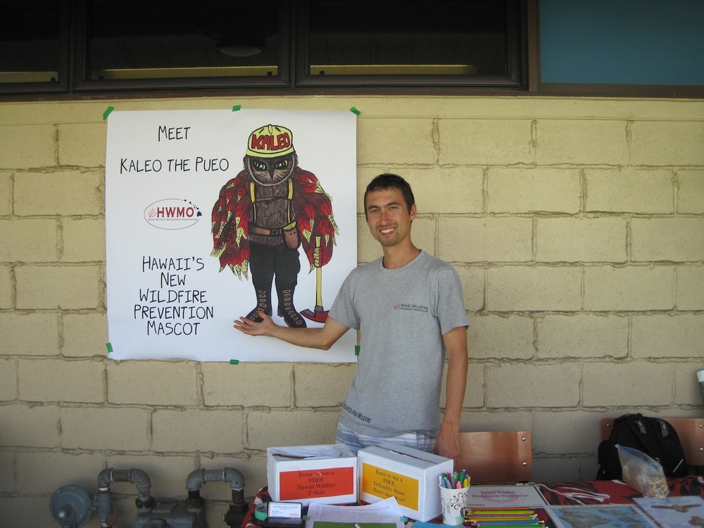 Pablo Beimler showcases Hawaii's new wildfire prevention mascot: Kaleo the Pueo.
