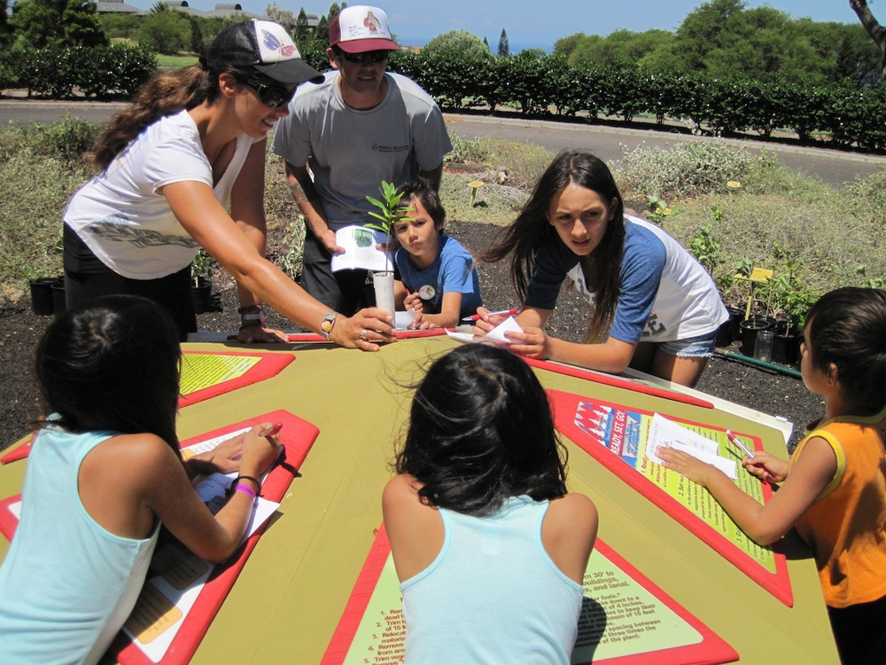 Waikoloa Dry Forest Initiative's Jess holds a sandalwood (ʻiliahi) during the Firewise Plant Game Show.