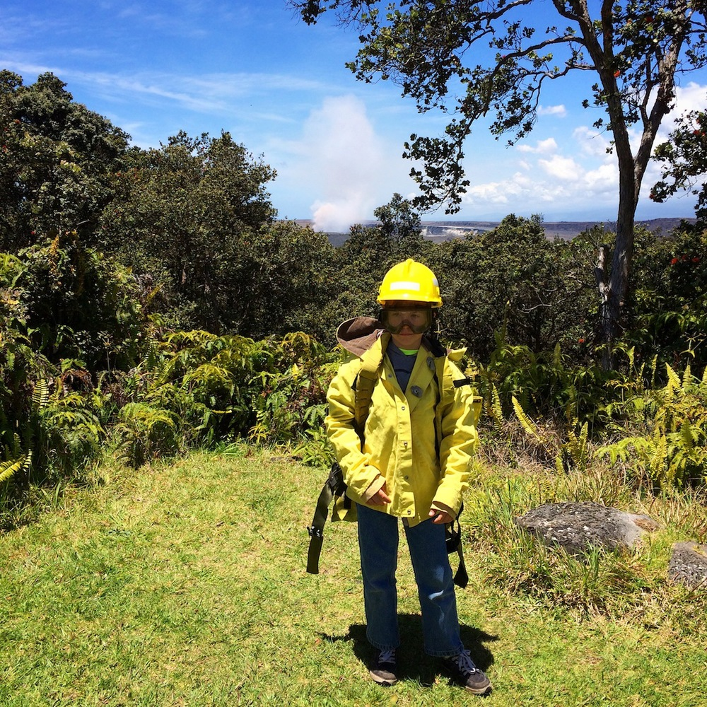 Kilauea Volcano gets active during Keiki Wildland Firefighter photo-shoot.