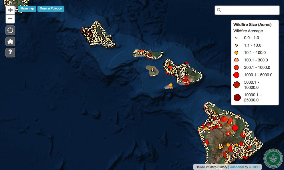 Hawaii State Wildfire History Interactive Map Geoportal Hawaii
