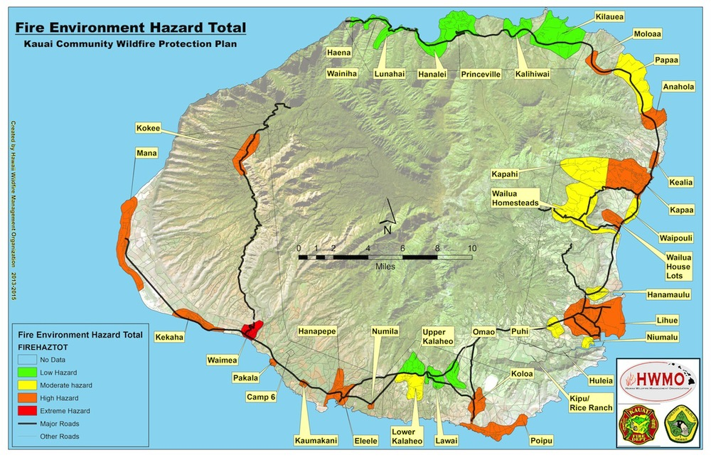 Fire Environment Hazard Total Map for County of Kauai (1 of 36 maps in the document).