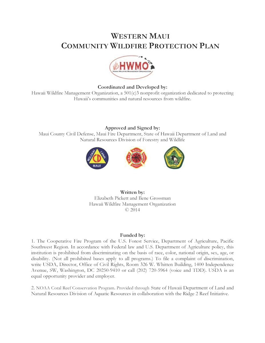 Front cover of the CWPP.