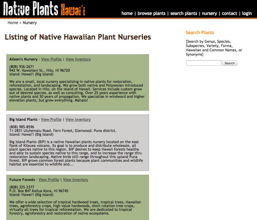 Listing Of Native Hawaiian Plant Nurseries Hawaii Wildfire Management Organization