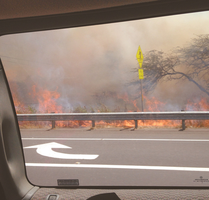 """ A brush fire near Piilani Highway and Moi Place in Kihei on Sat."""