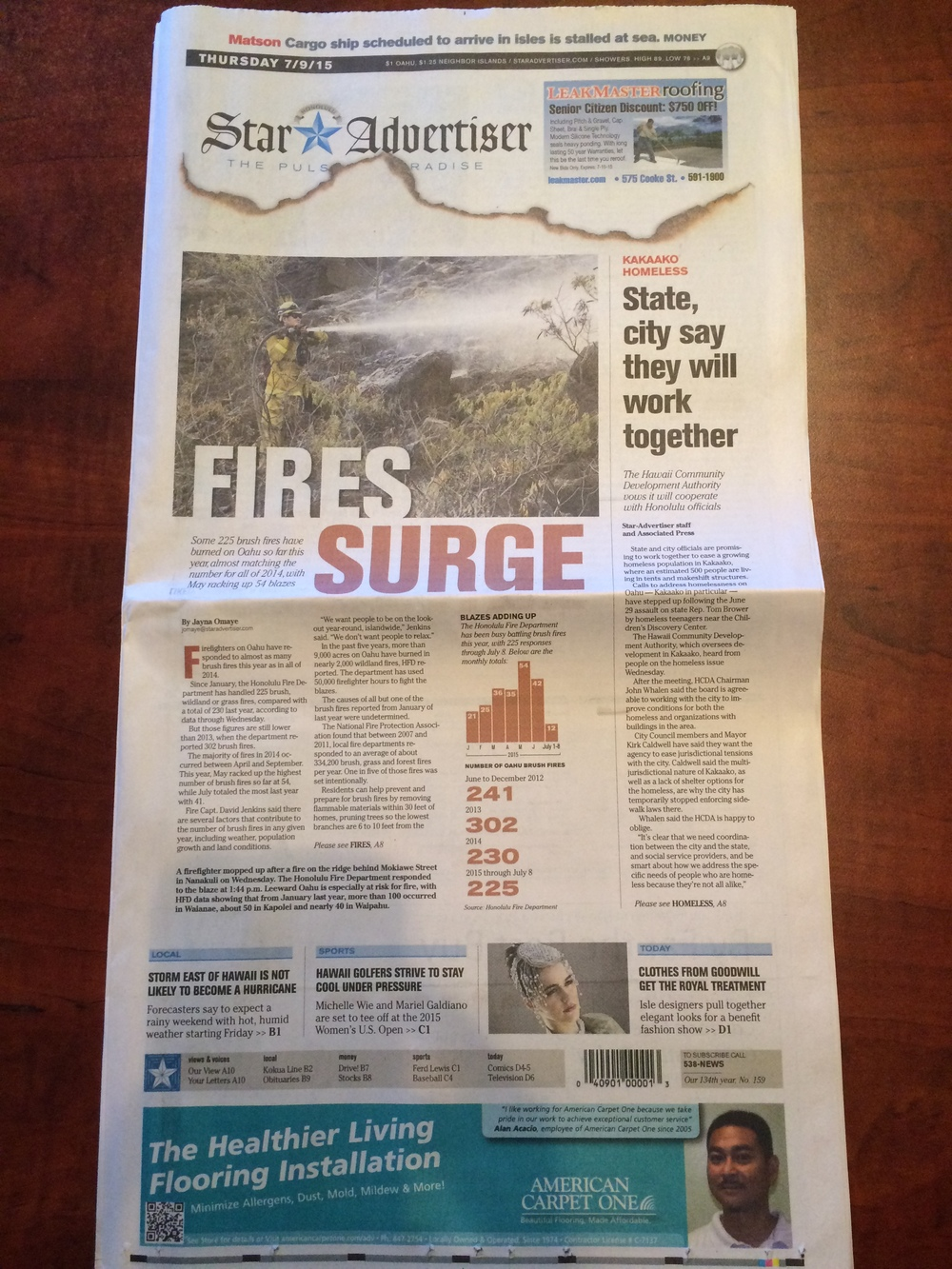Front page of Honolulu Star Advertiser on July 9, 2015.