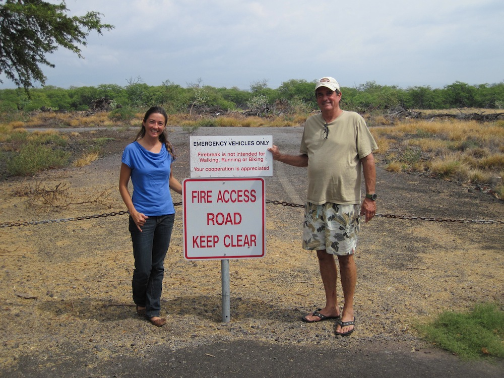 "Peter Hackstedde (right), Puako Community Association President and HWMO Board of Director, was instrumental in getting the fuelbreak started and maintained. Access to firefighters has dramatically improved and we've have received numerous accolades and ""mahalos"" from various fire agencies, as a result."