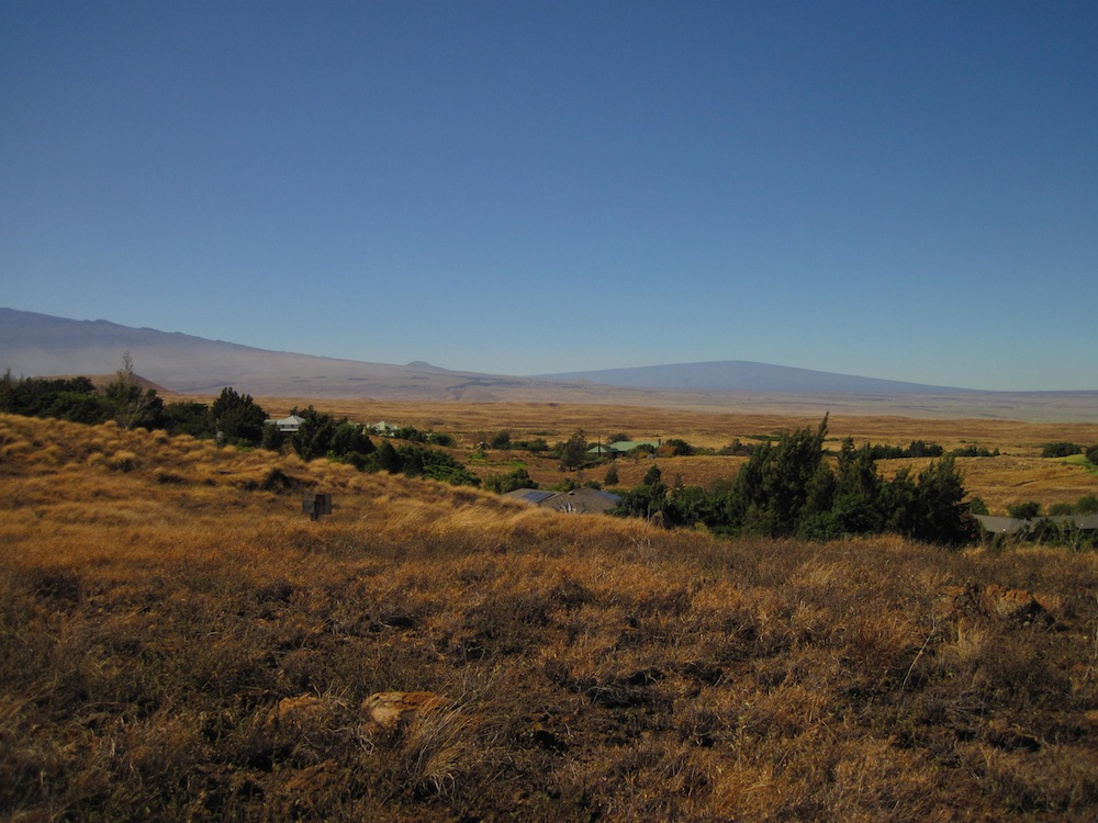 Kanehoa is nestled amongst a sea of flammable grasses, but has one of the most incredible views of Mauna Kea, Mauna Loa, Hualalai, and Kohala Mountain.