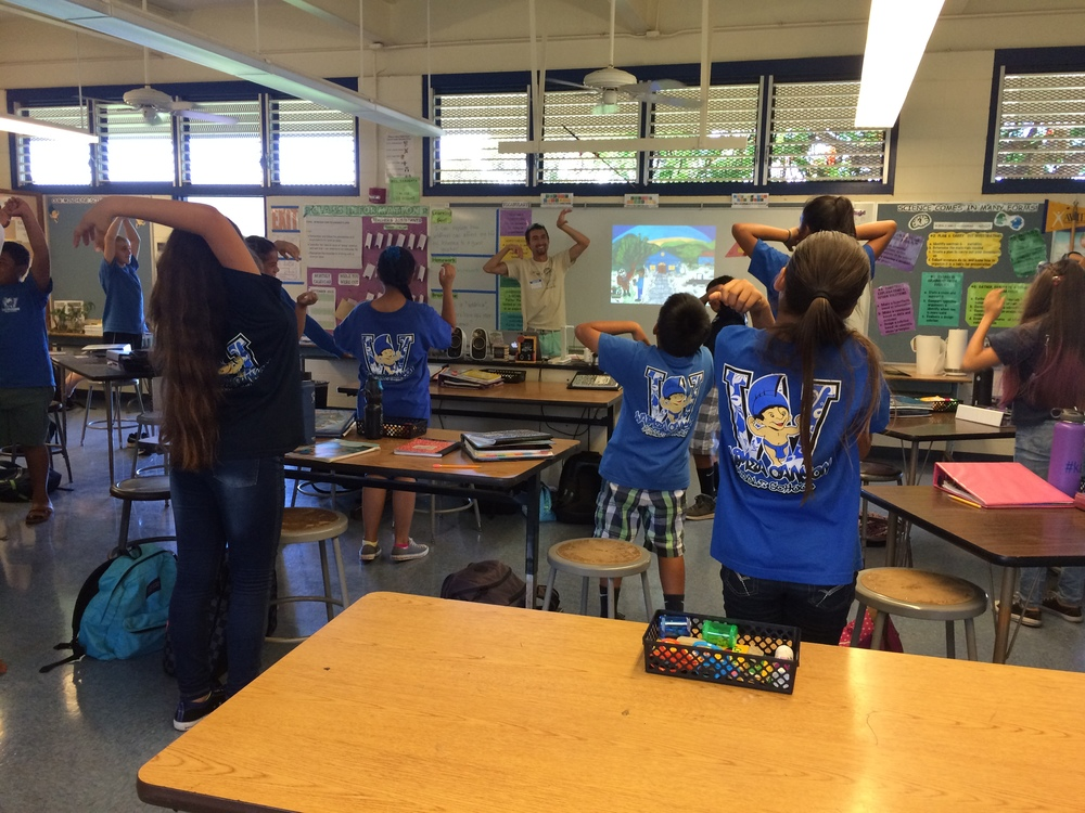 "Students become gnarled Wiliwili trees in a series of ""ladder fuel"" stretches."