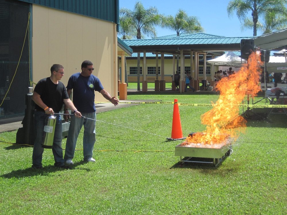 Fire extinguisher workshop at PREP Fair on August 30, 2014