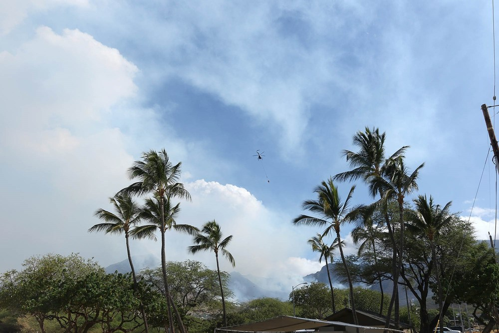 Helicopter flying over homes in Nanakuli. Credit - Terry Reis/Hawaii News Now