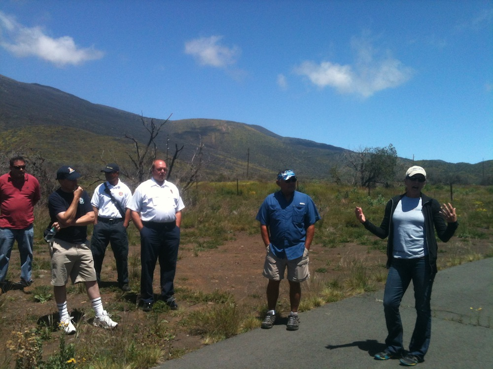 Mauna Kea Fire Field Tour on second day of 2014 CNH Conference. Credit: HWMO