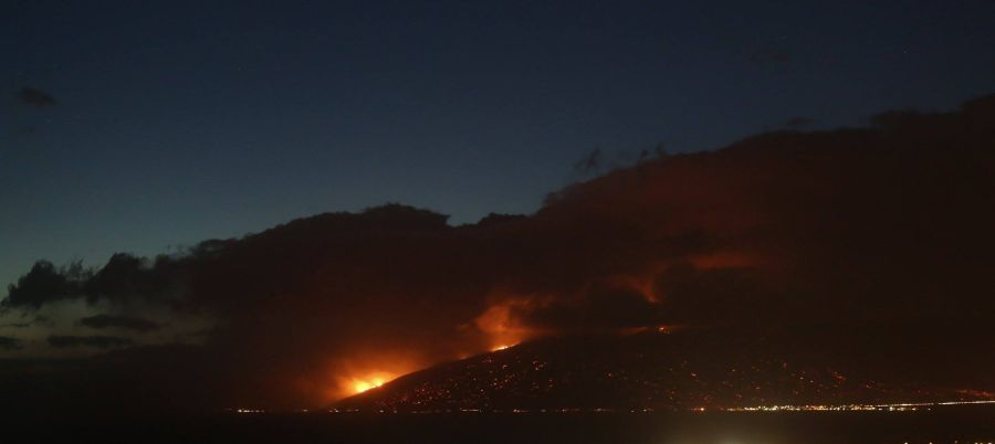Maalaea glows at night from the intense fire. Credit: Catie Koraleski/Facebook