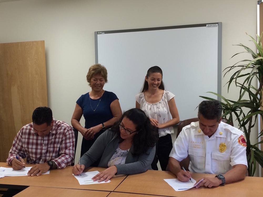 From left to right: Lance De Silva (DLNR DOFAW), Doreen Canto (DHHL), Anna Foust (Maui CD), Elizabeth Pickett (HWMO), and Chief Jeffrey Murray (MFD).