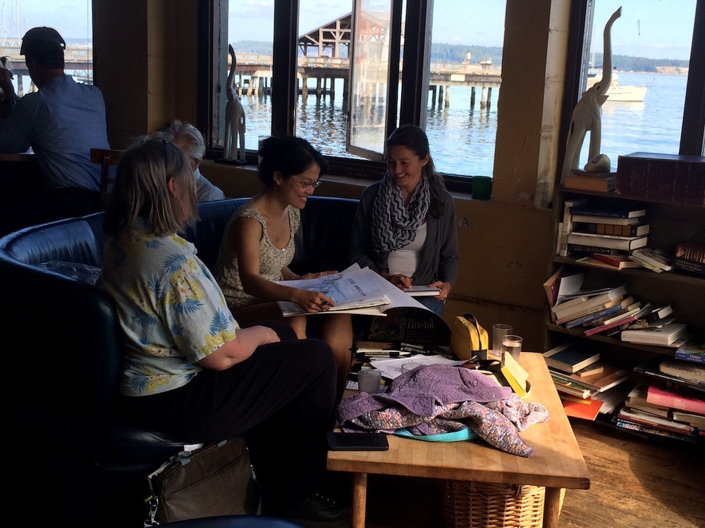 Elizabeth Pickett meets with another Community Climate Change fellow in Port Townsend, Washington.