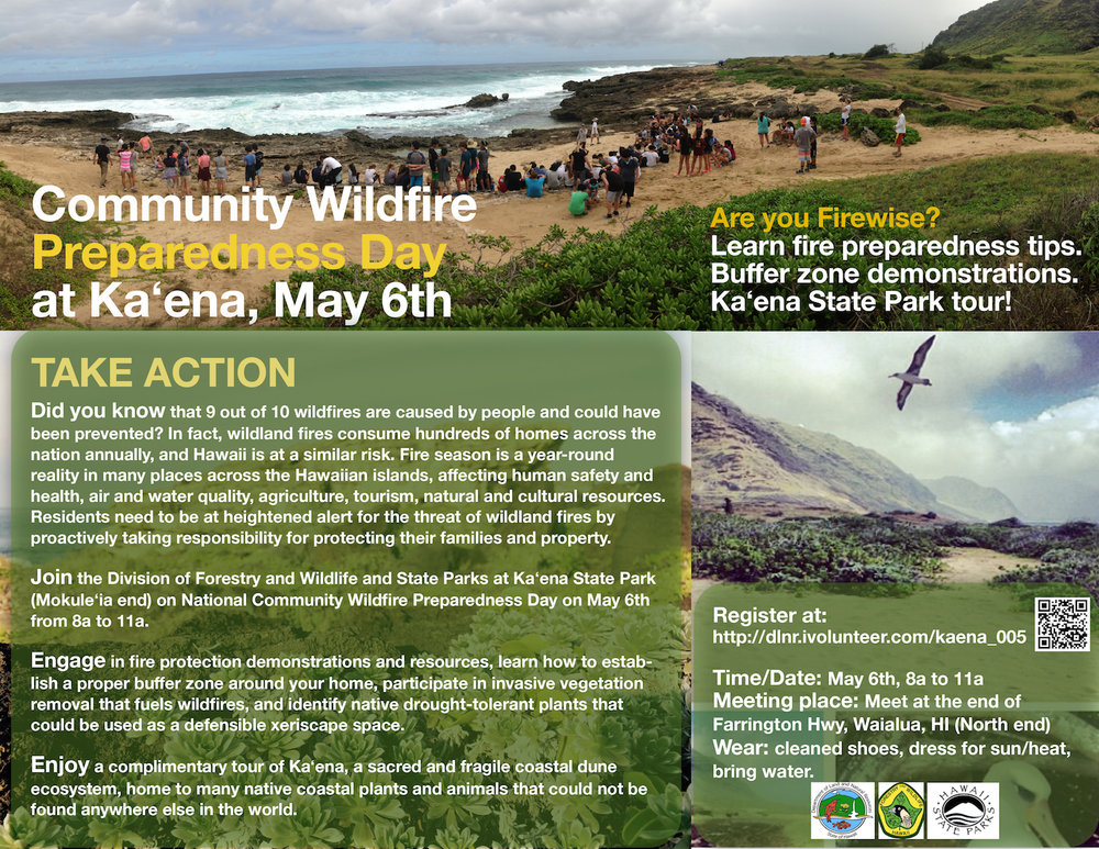Flyer for the event courtesy of DLNR Division of Forestry and Wildlife and Hawaiʻi State Parks.