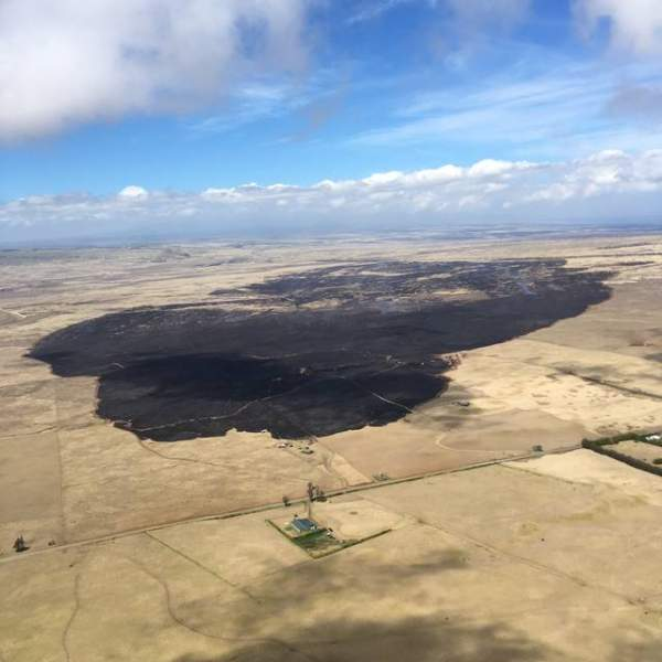 Aerial view of Waimea fire. Credit: Hawaii Fire Department