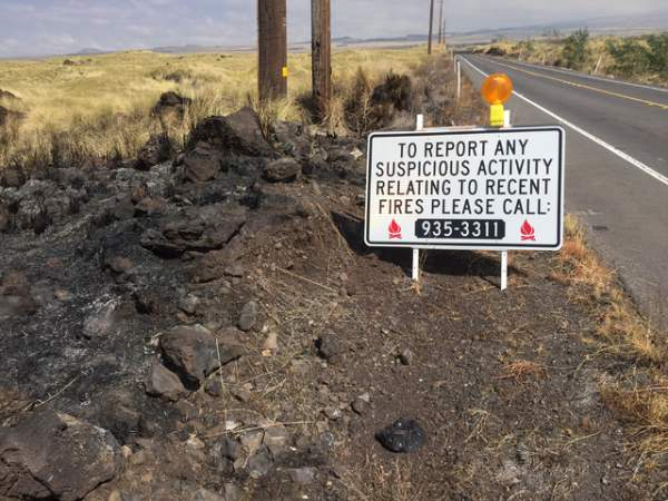 """Officials asked for the public's help to end a string of suspicious fires in North Kona and South Kohala in 2016."" Credit: State Department of Land and Natural Resources"