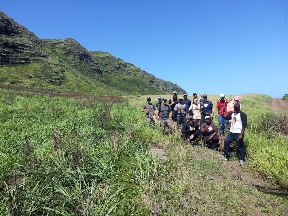 The volunteer group taking a tour of a recent burn at Kaʻena State Park. Credit - Dawn Bruns, US Fish and Wildlife Service