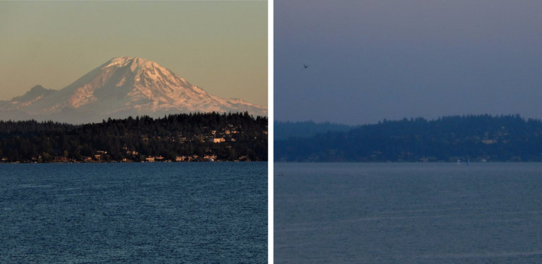 """Mount Rainier on a clear day last week, left, and a day later, after a haze had descended, obscuring the view from across Lake Washington."" Credit - NWS Seattle, via Twitter"