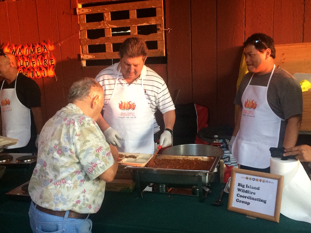 Big Island Wildfire Coordinating Group serving their dish.