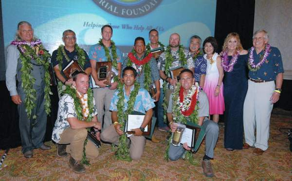 """Dr. Frank Sayre and his wife, Laura Mallery-Sayre, join Gov. Davis Ige and his wife for a photo with the 2017 honorees during the 20th annual Daniel R. Sayre Memorial Foundation Awards Dinner and Fundraiser on Saturday at The Fairmont Orchid on the Kohala Coast."" Credit: Laura Ruminski/West Hawaii Today"
