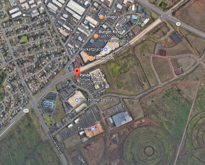 General location of fire near Airport Access Road. Google Maps